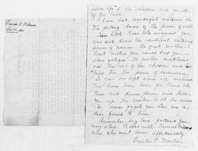 Clara Barton Papers: Subject File, 1861-1952; National Woman's Christian Temperance Union, 1890-1910, Willard, Frances E.