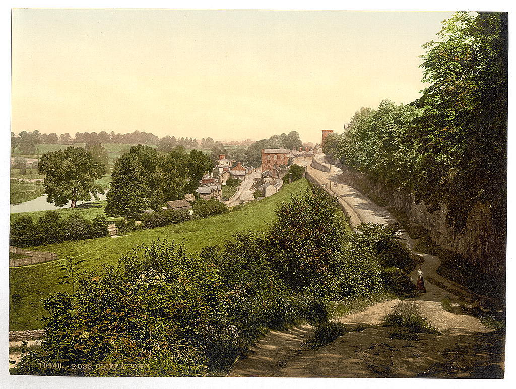[Cliff and town, Ross-on-Wye, England]