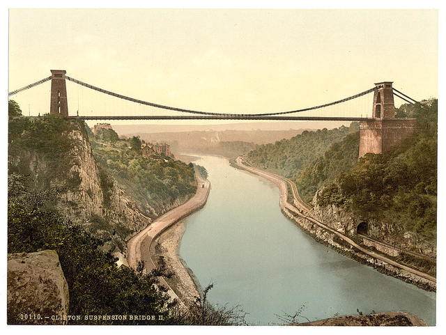 [Clifton suspension bridge from the cliffs, Bristol, England]