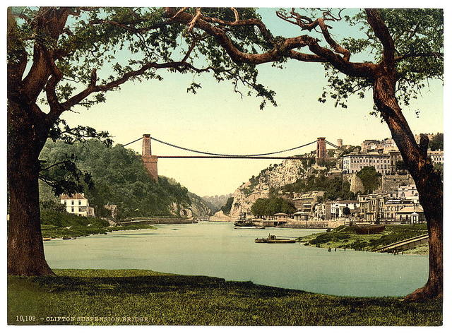 [Clifton suspension bridge from the ferry, Bristol, England]