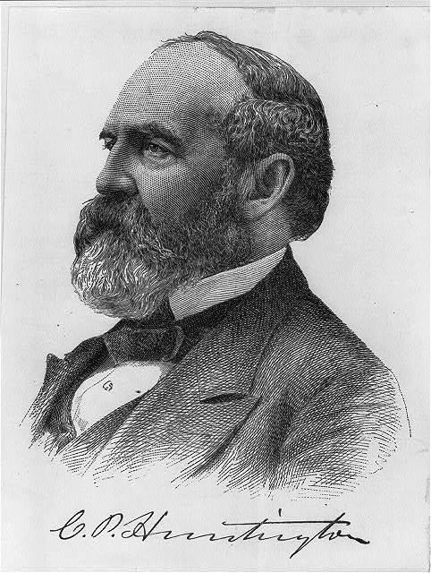 [Collis Potter Huntington, 1821-1900, head and shoulders portrait, facing left]