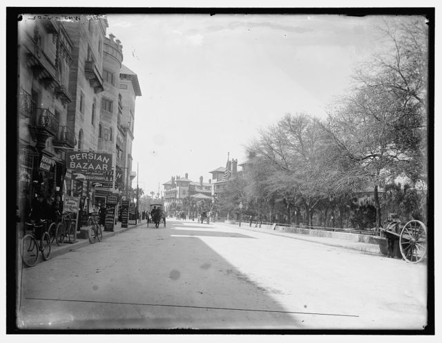 [Commercial street with Persian Bazaar and El Unico gift shop, Saint Augustine, Fla.]