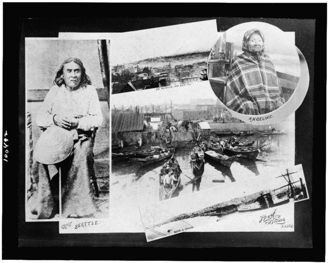 [Composite of photographs: full-length portrait of Chief Seattle, half-length portrait of Angeline, and views of Mt. Rainier and Seattle, Wash.] / Boyd and Braas photo.
