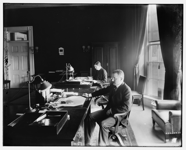 Cortelyou. Secty. Cortelyou and Barnes in office. Secretary of Treasury - T.R. Roosevelt Admin.