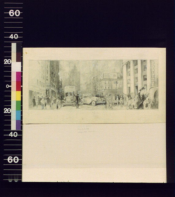 [Crowded city street]