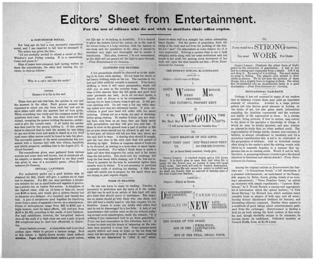 Editors' sheet from entertainment. For the use of editors who do not wish to mutilate their office copies. [Council Bluffs, Iowa. 189-?].