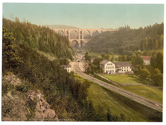 [Elster Valley Bridge and the Barth Mill, Plauen, Saxony, Germany]