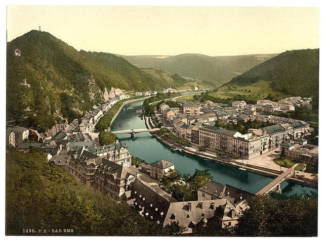 [Ems (i.e., Bad Ems) from Kurberg, Ems, the Rhine, Germany]