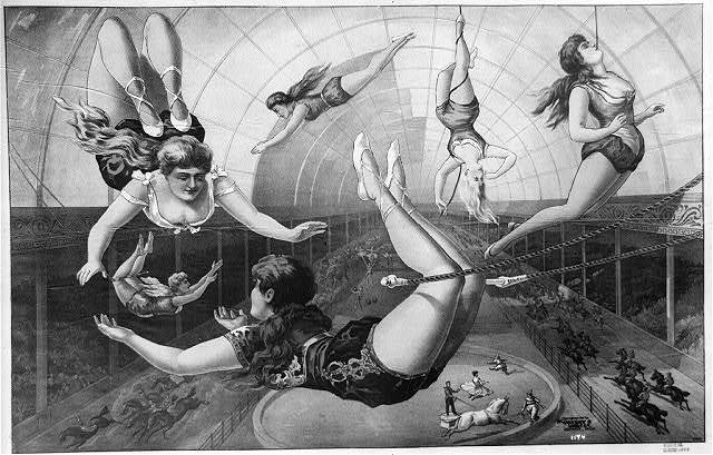 [Female acrobats on trapezes at circus]
