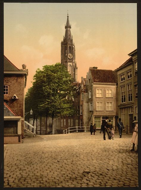 [Fish market and new church, Delft, Holland]