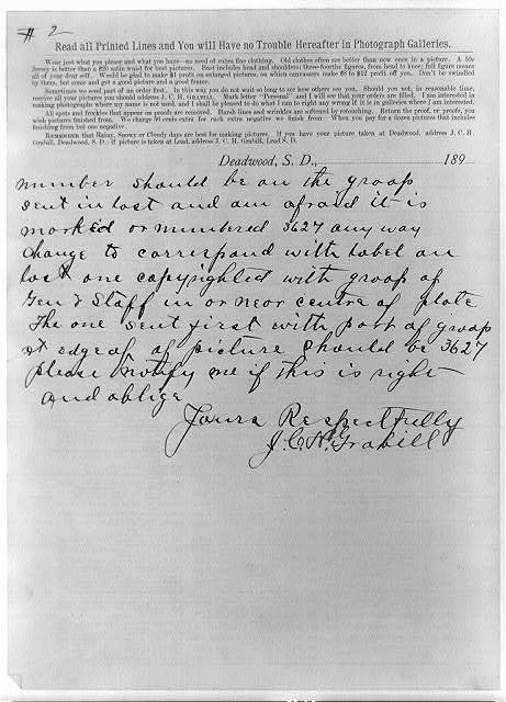 [Form for J.C.H. Grabill photos, with instructions on what to wear, how to order, etc.; with handwritten note from Grabill to the Copyright Office concerning photos he deposited]