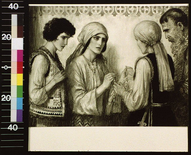 [Four people in Slavic costume, woman giving another beads]