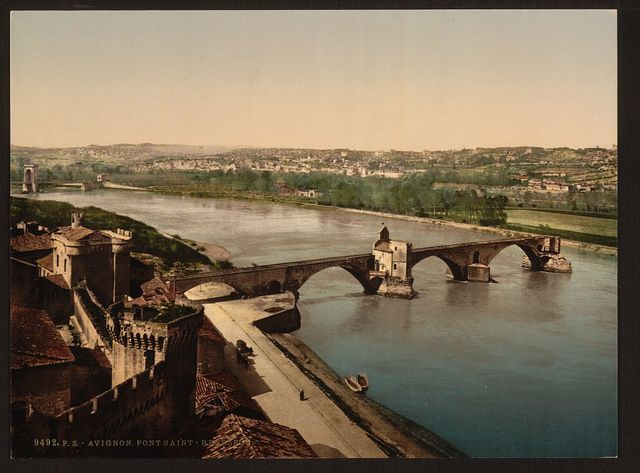 [General view and Benezech Bridge, Avignon, Provence, France]