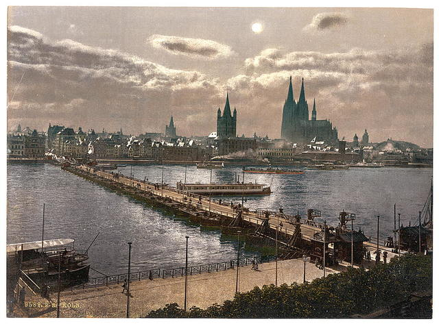 [General view, by moonlight, Cologne, the Rhine, Germany]