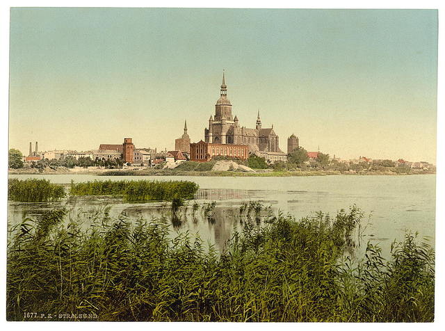 [General view, from station, Stralsund, Pomerania, Germany]