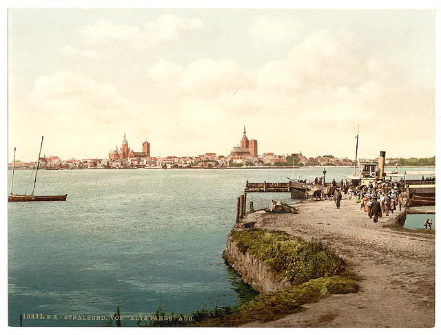 """[General view, from the """"Alte Fahre"""", Stralsund, Pomerania, Germany]"""