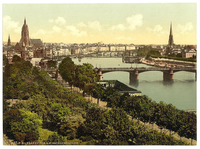 [General view, the river and warehouses, Frankfort on Main (i.e. Frankfurt am Main), Germany]