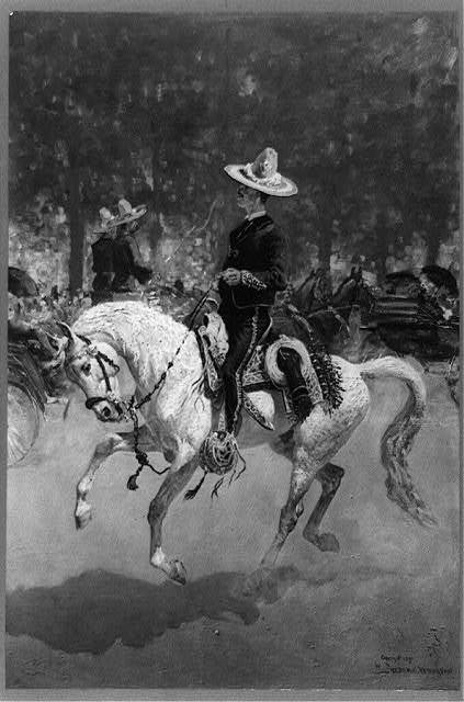 Gentleman rider on the Plaza del Paseo / by Frederic Remington.