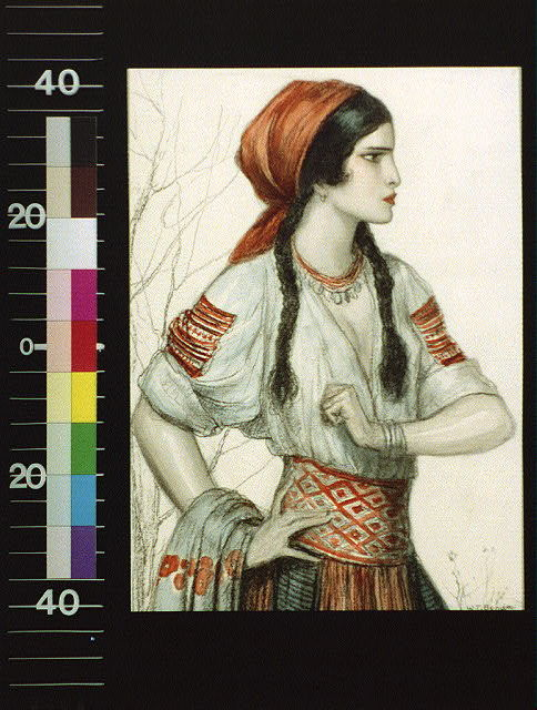 [Girl in Slavic peasant costume]