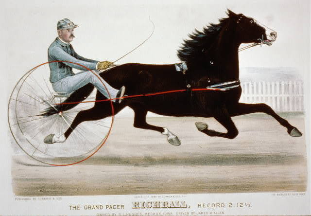 Grand pacer Richball, record 2:12 1/2 owned by D.L. Hughes, Keokuk, Iowa, driven by James M. Allen