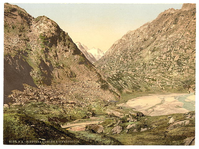 [Grimselstrasse, view on Finsteraarhorn and Zinkenstock, Bernese Oberland, Switzerland]