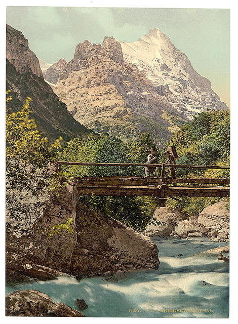 [Grindelwald, footbridge and mountain peaks, Bernese Oberland, Switzerland]
