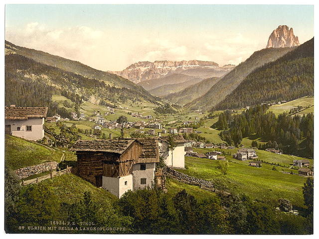 [Grodenthal, with Sella, and Langkoflgruppe, Tyrol, Austro-Hungary]