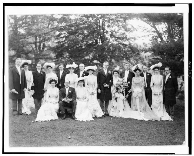 [Group dressed for wedding(?) ceremony posed outdoors] / Perry, Allegheny, Pa.