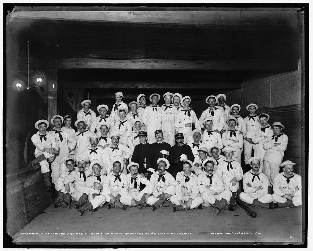 Group of officers and men of New York Naval Reserves on U.S.S. New Hampshire