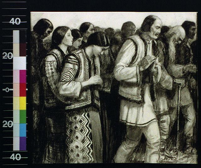 [Group of peasants in Slav costume, praying]