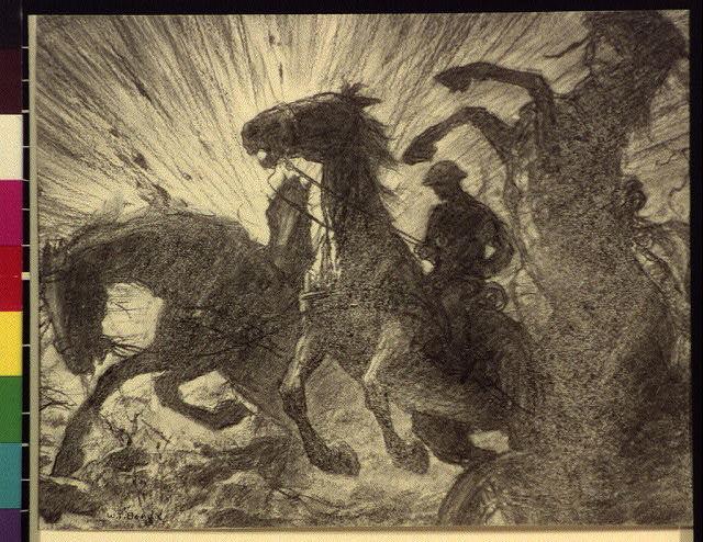 [Horses charging over battlefield]