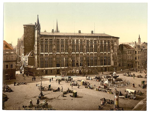 [Hotel de Ville and market place, Aachen, the Rhine, Germany]