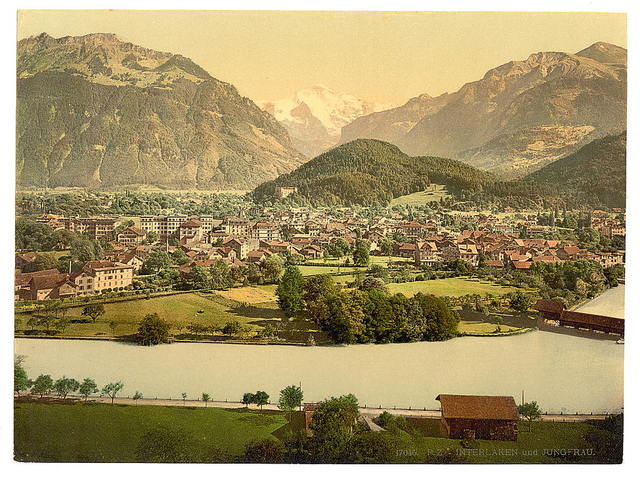 [Interlaken and the Jungfrau, Aare River in foreground, Bernese Oberland, Switzerland]