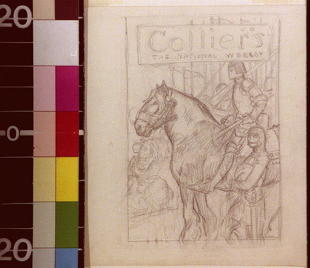 [Joan of Arc on horseback with soldiers]