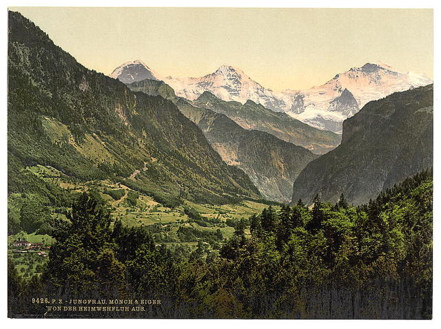 [Jungfrau, Monch and Eiger, from Heimwehfluh, Bernese Oberland, Switzerland]