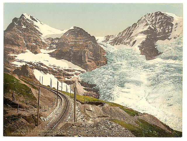 [Jungfrau, railroad, Eiger and Monch, with Eiger Glacier, Bernese Oberland, Switzerland]
