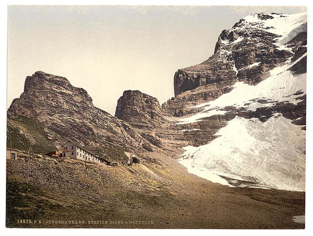[Jungfrau, railroad station, Eiger and Rothstock, Bernese Oberland, Switzerland]