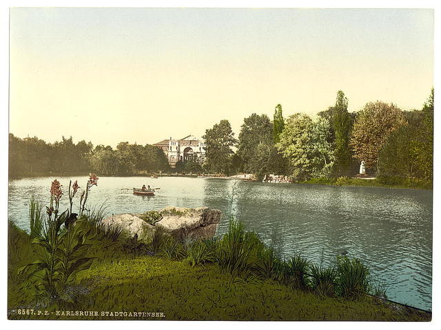 [Lake in public garden, Karlsruhe, Baden, Germany]