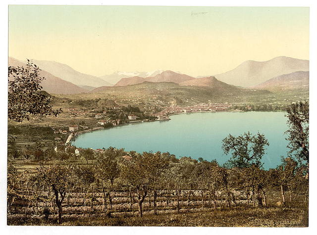 [Lake of Lugano, view of the lake, the town, and the Alps, taken from Paradiso, Tessin, Switzerland]