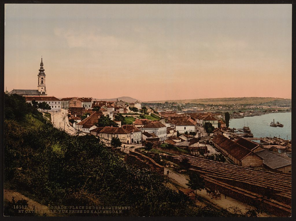 [Landing place and cathedral, Belgrade, Servia]