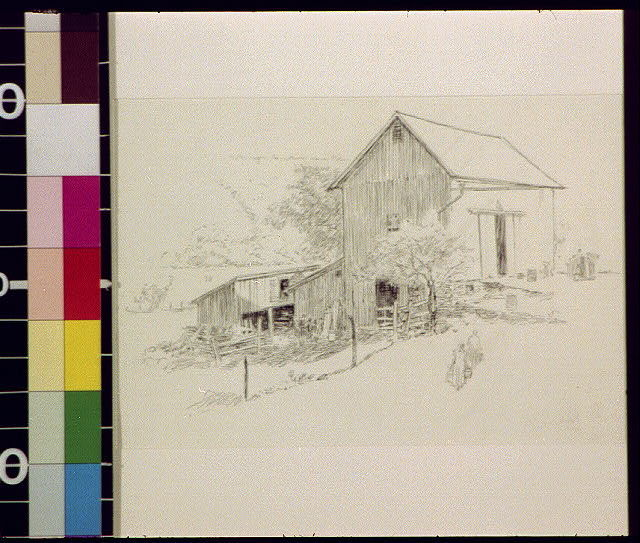 [Large barn with two figures walking toward it]