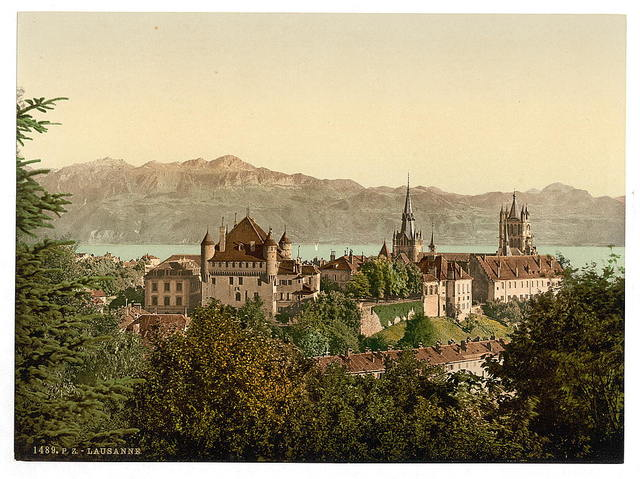 [Lausanne, general view, with Savoy Alps, Geneva Lake, Switzerland]