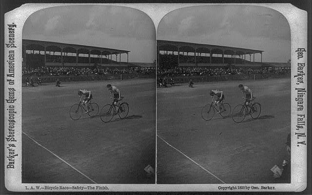 L.A.W. Bicycle Race. Safety--the finish