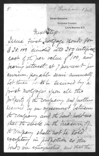 Letter from Alexander Graham Bell to Gardiner Greene Hubbard, October 27, 1890