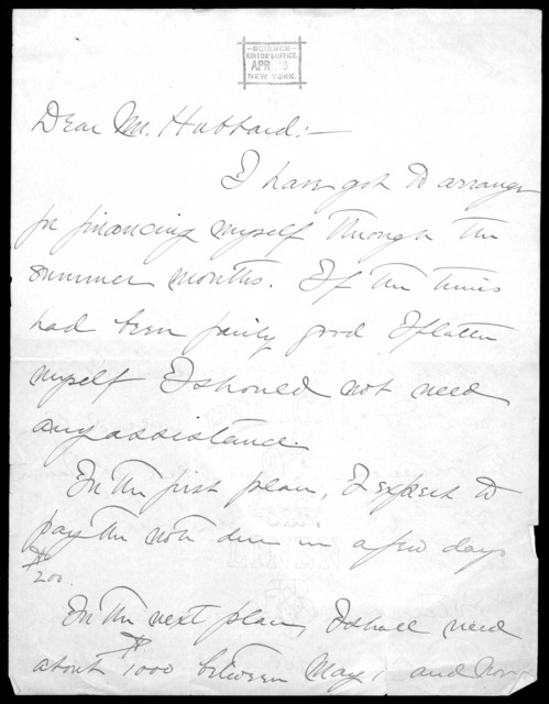 Letter from Gardiner Greene Hubbard to Alexander Graham Bell, April 17, 1890