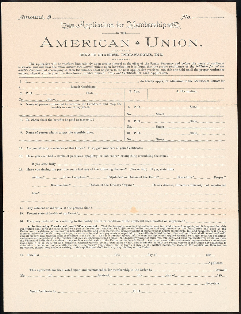 Letter from The American Union to Uriah W. Oblinger, December 15, 1890