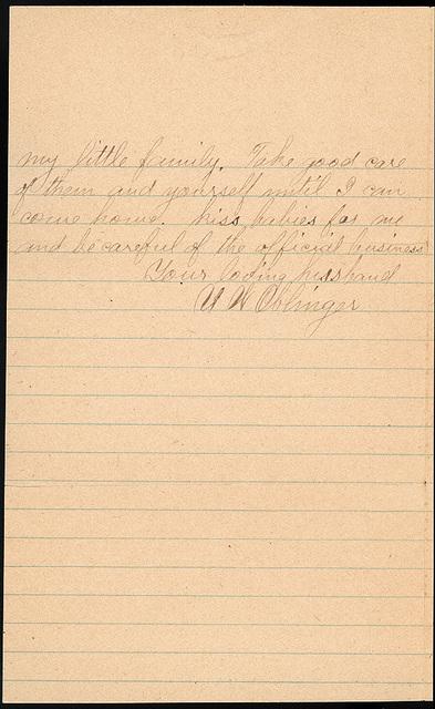 Letter from Uriah W. Oblinger to Laura I. Oblinger, Sadie Oblinger, Lillie Oblinger, Stella Oblinger, Nettie Oblinger, and Maggie Oblinger, October 12, 1890