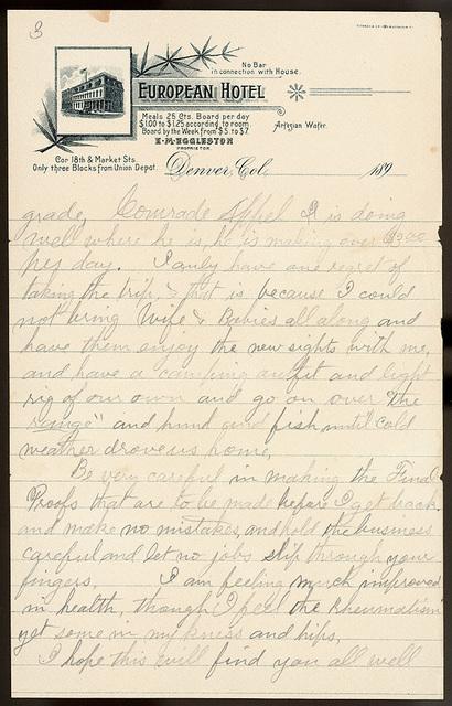 Letter from Uriah W. Oblinger to Laura I. Oblinger, Sadie Oblinger, Nettie Oblinger, Maggie Oblinger, Lillie Oblinger, and Stella Oblinger, August 31, 1890