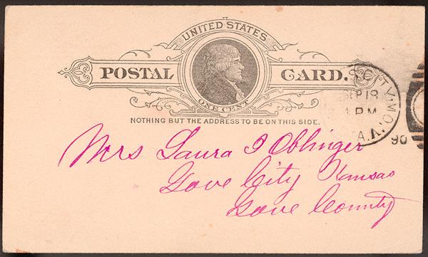 Letter from Uriah W. Oblinger to Laura I. Oblinger, September 18, 1890