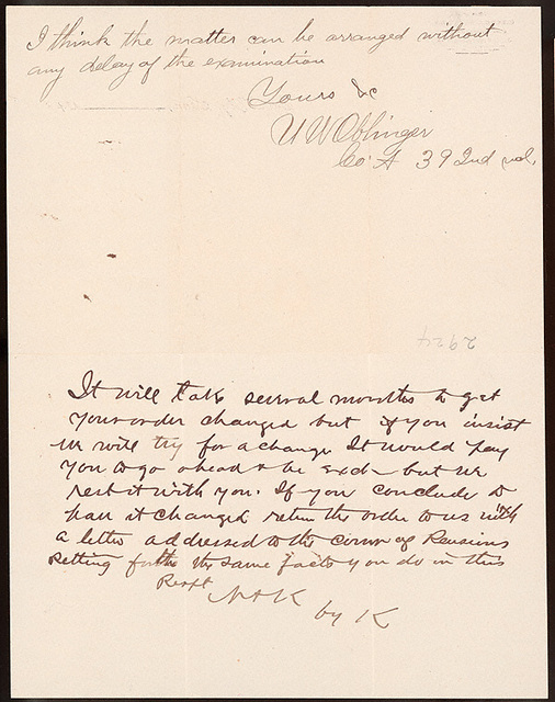 Letter from Uriah W. Oblinger to Newsom & Knowland, April 24, 1890